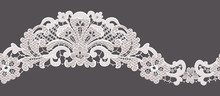 Ornate Lace Edging. Vector Illustration. Seamless Element