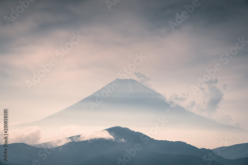 Foto auf Leinwand Gebirge Mountain Fuji with cloudy in summer season