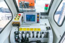 Crane Control Levers Inside Cabin. Digital Load Indicator.