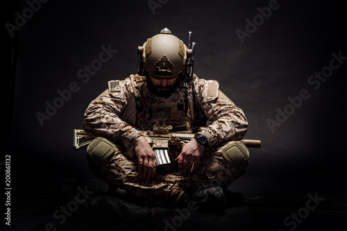 Fotografiet Special forces United States soldier or private military contractor