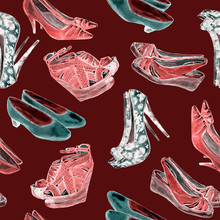 Modern Ladies Shoes: Wedge, Slingbacks, Stilettos, Court Shoes And Kitten Heel, Red, White, Green Colors Neon Palette, Hand Painted Watercolor Illustration, Seamless Pattern On Brown Background