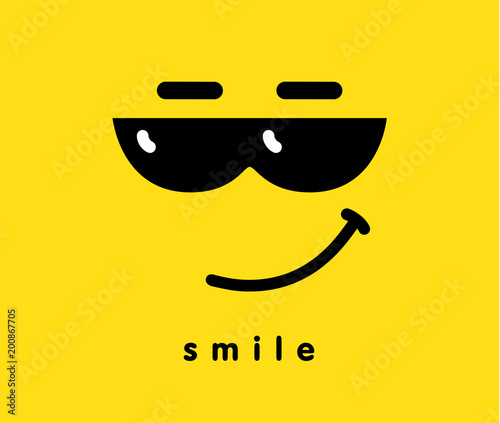 2be16a746a2 Smile with sunglasses icon emoji template design. Emoticon with smiling  face wearing dark sunglasses