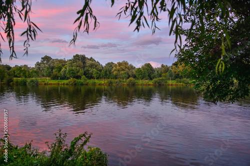 Fotobehang Purper Luxemburg moselle river evening