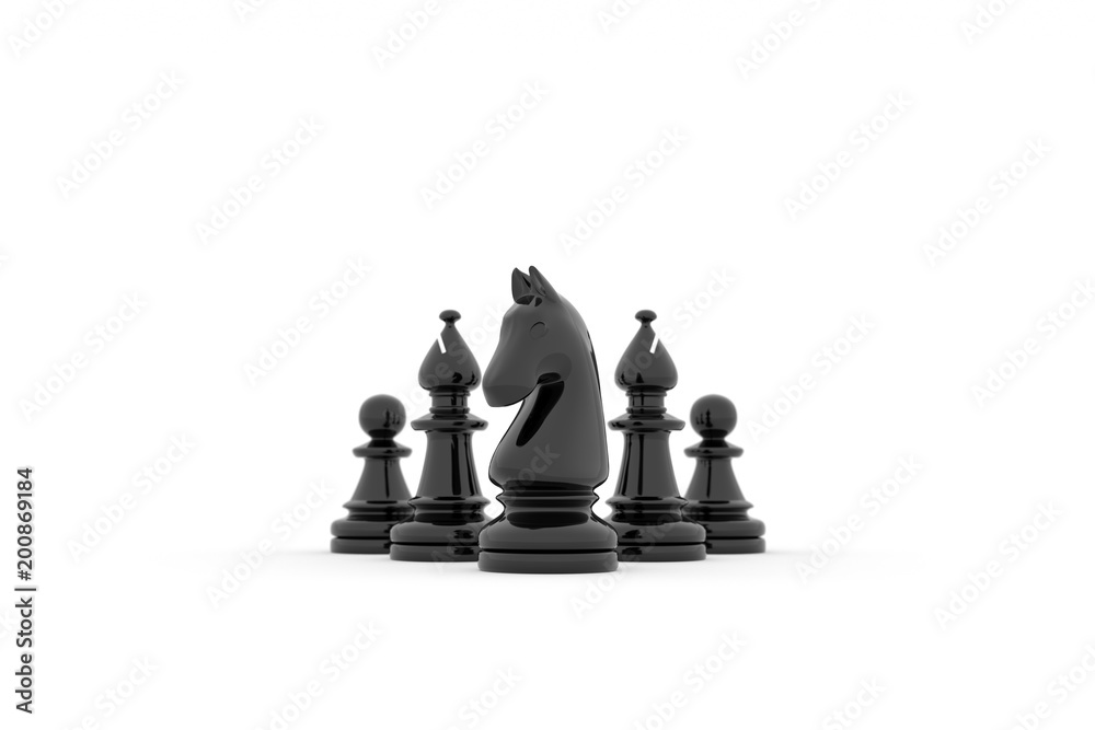 Fototapeta Chess team building strategy - kight, bishops and pawns