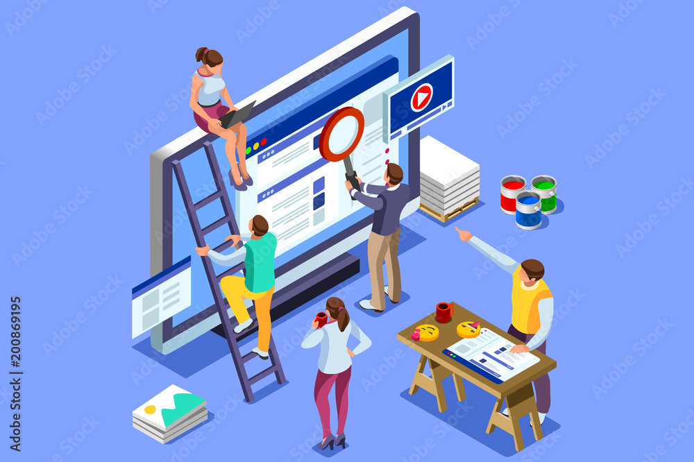 Fototapeta Brand vector text with employers working on branding design. Flat Isometric people illustration isolated on blue background. Can use for web banner, infographics, hero images.