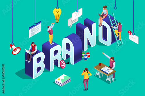Obraz Brand vector text isometric logo - fototapety do salonu