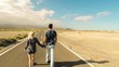 young and caucasian coucple with blonde girl enjoy a sunny day walking on a long infinite road. life and future concept for people that live the world. beautiful place outdoor leisure activity