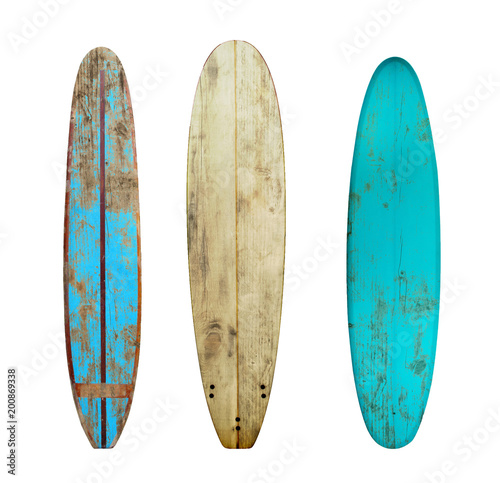 Vintage wood surfboard isolated on white with clipping path for object, retro styles.