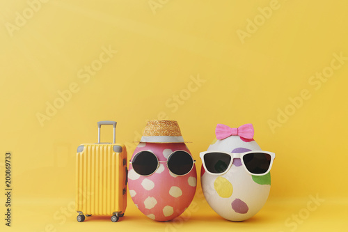 Egg couple tourist with Mock up travel. 3d rendering Wallpaper Mural