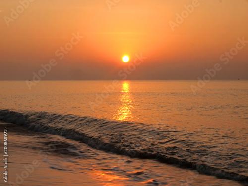 Spoed Foto op Canvas Zee zonsondergang Slow shutter seascape view and beautiful sunrise