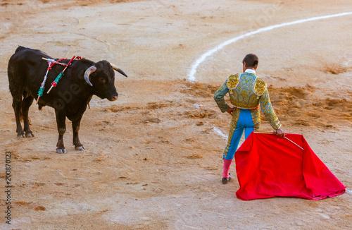 Matador and bull in tourada bullfight - Moita Lisbon Portugal