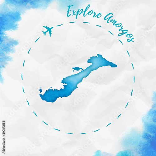 Photo Amorgos watercolor island map in turquoise colors