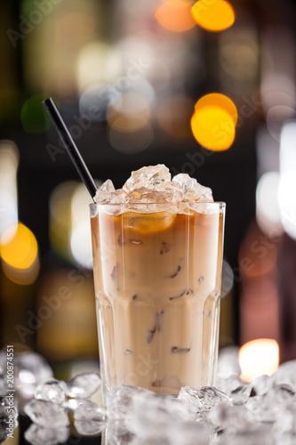 Fototapeta  Ice coffee on bar desk.