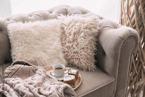 Foto Still life details of nordic living room