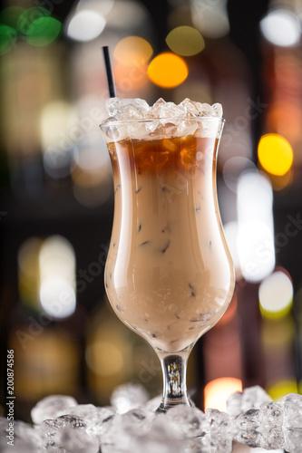 Obraz na plátně  Ice coffee on bar desk.