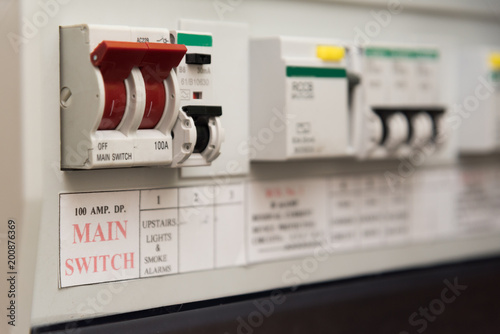 Close up of a MCB (Micro Circuit Breaker) on a UK domestic ... on