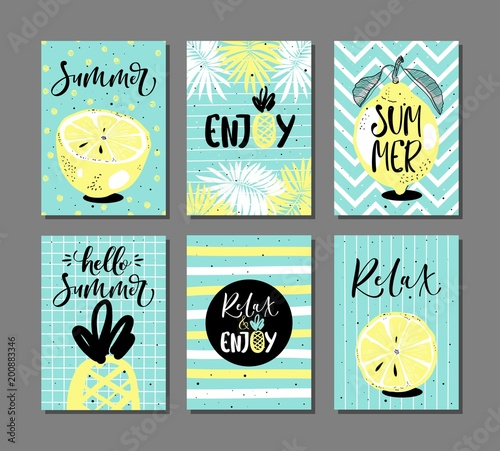 Vector set of bright summer cards with fruits, palm leaves and hand written text. - 200883346