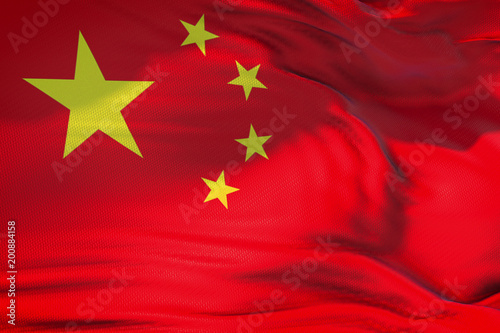 Foto  waving fabric texture with red color of the flag of people of republic of china,