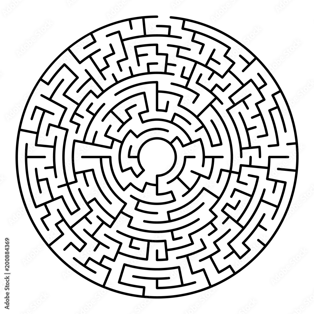 Fototapeta Maze labyrinth. Circular game isolated on background