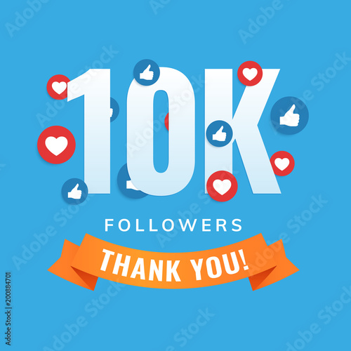 Fototapeta 10k followers, social sites post, greeting card vector illustration