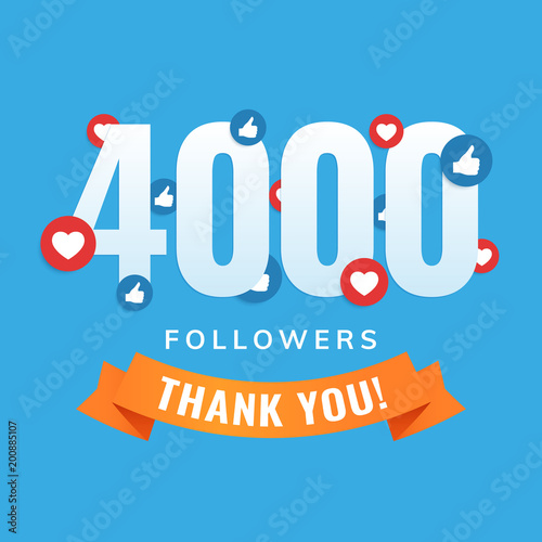 Fototapeta  4000 followers, social sites post, greeting card vector illustration