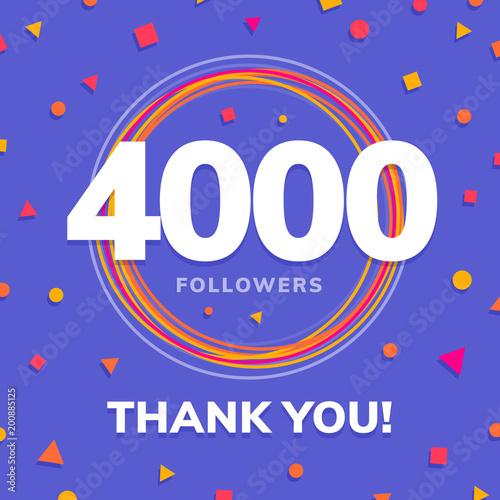 4000 followers, social sites post, greeting card vector illustration Tapéta, Fotótapéta