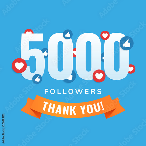 Cuadros en Lienzo 5000 followers, social sites post, greeting card vector illustration