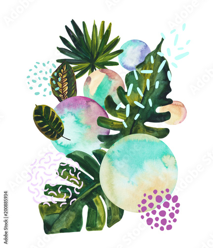Fotoposter Grafische Prints Watercolor tropical leaves on geometric background with water color, doodle textures.