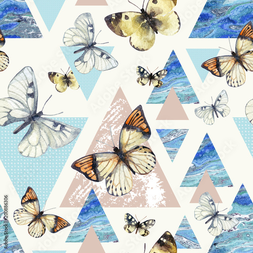 In de dag Vlinders in Grunge Watercolor triangles with butterfly and marble grunge textures