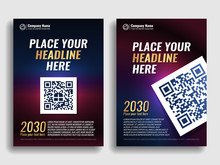 Collection Of Covers With A Blue Red Gradient. Template For A Book, Magazine, Banner, Flyer, Invitation, Annual Report. QR Code. Gold Letters. Vector Illustration.