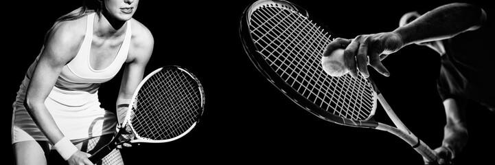 Fototapeta Composite image of tennis woman