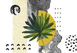 Abstract background: dynamic black golden brush stroke, minimal elements, tropical leaf. - 200888146