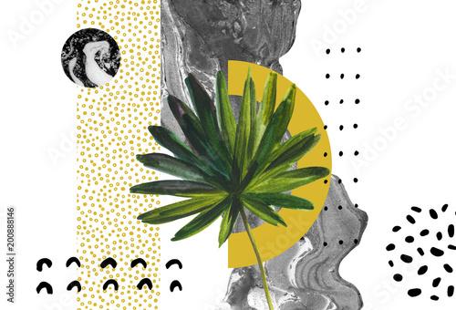 abstrakcja-lisc-do-szarych-scian