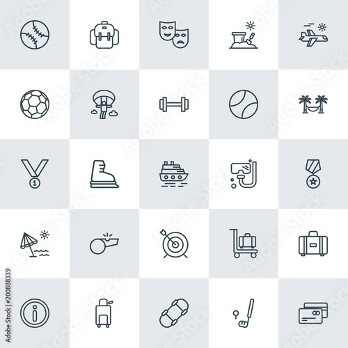 Photo  Modern Simple Set of sports, travel Vector outline Icons