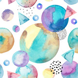 Abstract drawing of geometric elements with watercolor, ink, doodle textures on background. - 200888764