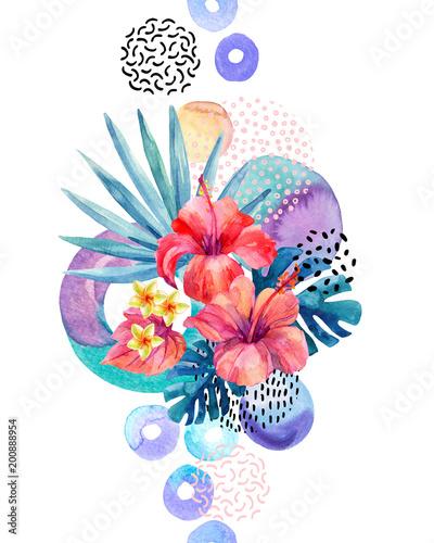 recznie-malowane-tropikalne-kwiaty-dlon-wentylatora-liscie-monstera-doodle