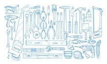 Collection Of Manual And Powered Electric Tools For Woodworking, Home Repair And Maintenance Hand Drawn With Blue Contour Lines On White Background. Monochrome Realistic Vector Illustration.
