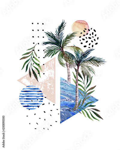 Fotobehang Grafische Prints Abstract poster: watercolor palm trees, leaves, marbling triangles