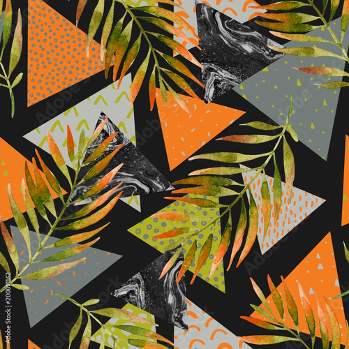 Recess Fitting Watercolor Nature Abstract summer geometric seamless pattern.