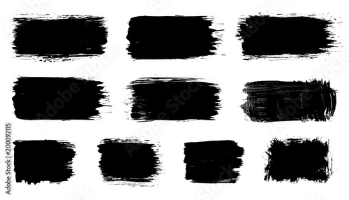 Tuinposter Vormen Vector black paint, ink brush stroke, dry grunge brush smear, line or texture. Dirty artistic design splash element, box, frame or background for text.