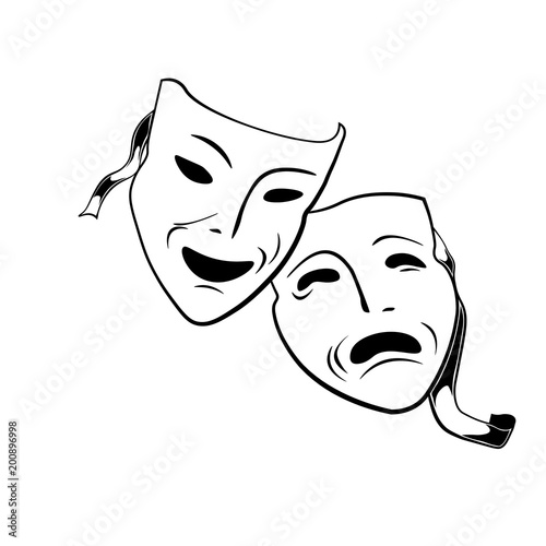 Fotografie, Tablou  Comedy and tragedy theatrical masks