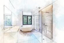 Illustration Sketch Of A Batht...