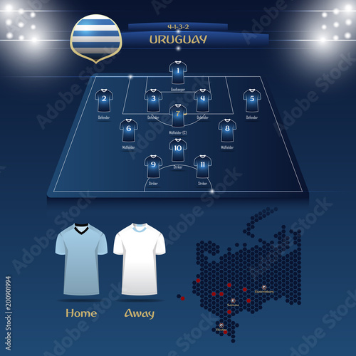 0b086d6c88a Football player position on football pitch and stadium map. Vector  Illustration. By tondruangwit. Team Uruguay soccer jersey ...