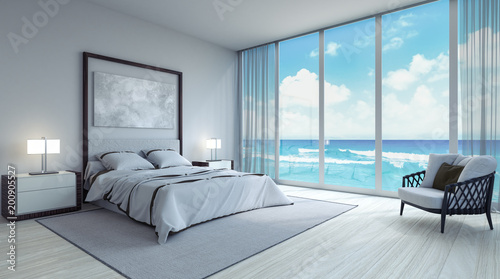 Fotografia  Modern bedroom interior design 3d Render 3d illustration