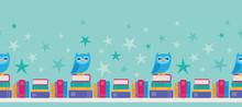 Vector Owl Bookshelf Seamless ...