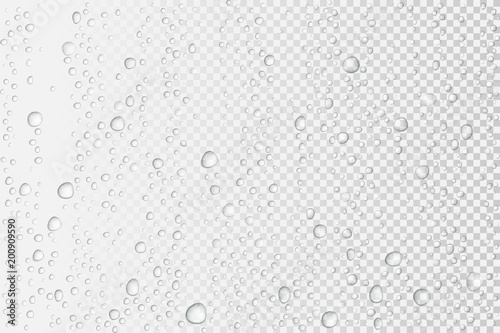 Fotografie, Tablou  Vector Water drops on glass. Rain drops on transparent background