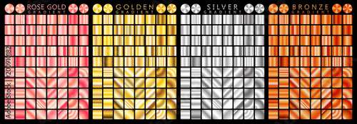 Fototapeta Rose gold, golden, silver, bronze gradient,pattern,template.Set of colors for design,collection of high quality gradients.Metallic texture,shiny background.Pure metal. obraz
