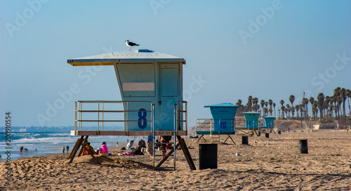 Lifeguard towers beach scene on Huntington beach in southern California