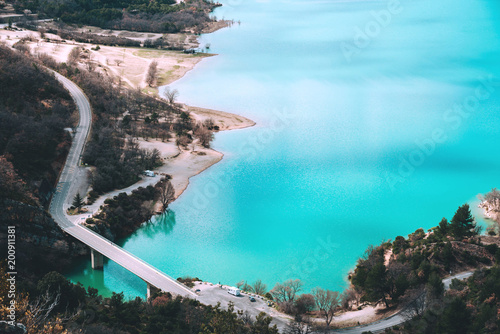 Spoed Foto op Canvas Turkoois Beautiful view of St. Croix lake in Provence, France.