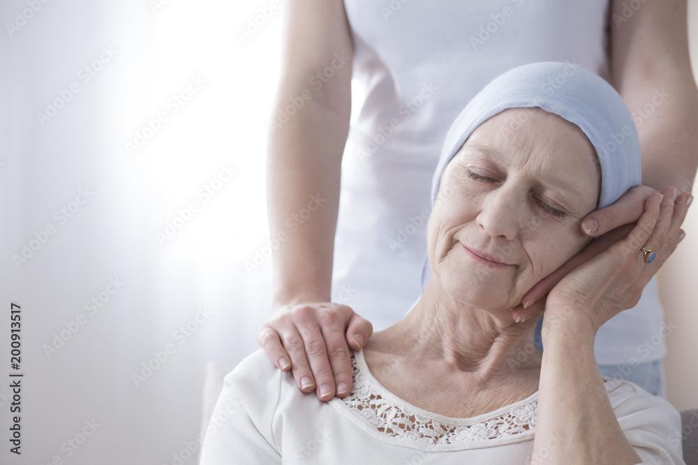 Fototapeta Happy elderly woman with cancer